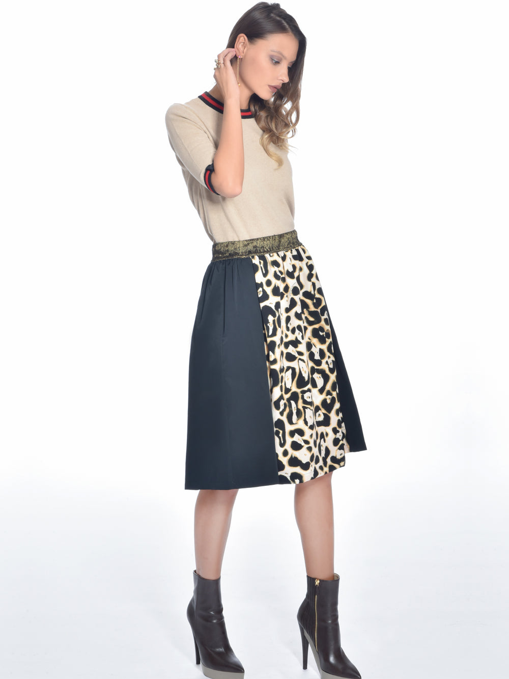 Cheetah Paneled Midi Skirt, ROBERTA SCARPA - elilhaam.com