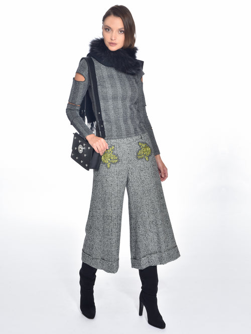 Grey Wool Culotte Pants