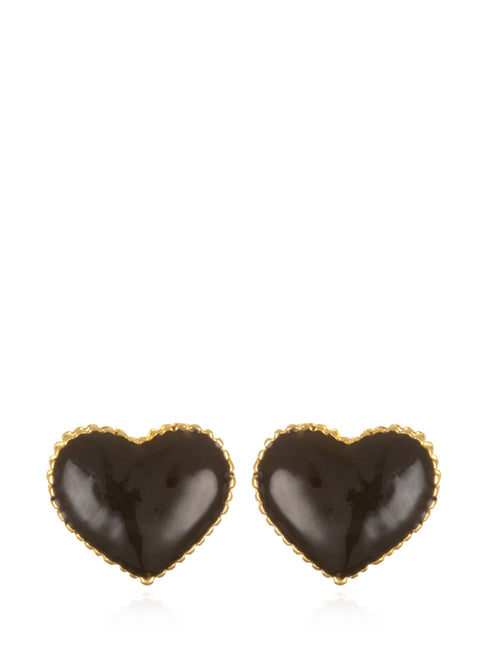 Black Enamel Heart Earrings