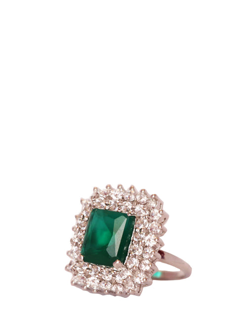 Green Center Stone Cut Ring