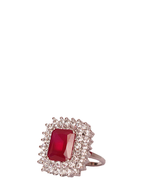 Red Center Stone Cut Ring