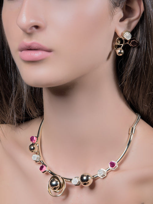 Spheres Necklace with Pink Studs & Swarovski crystals
