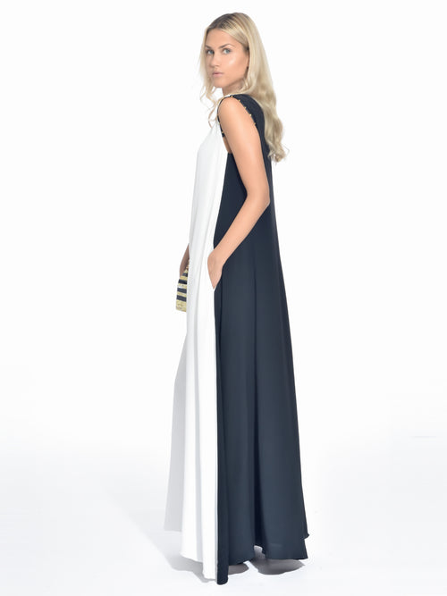 Block White and Black Maxi Dress