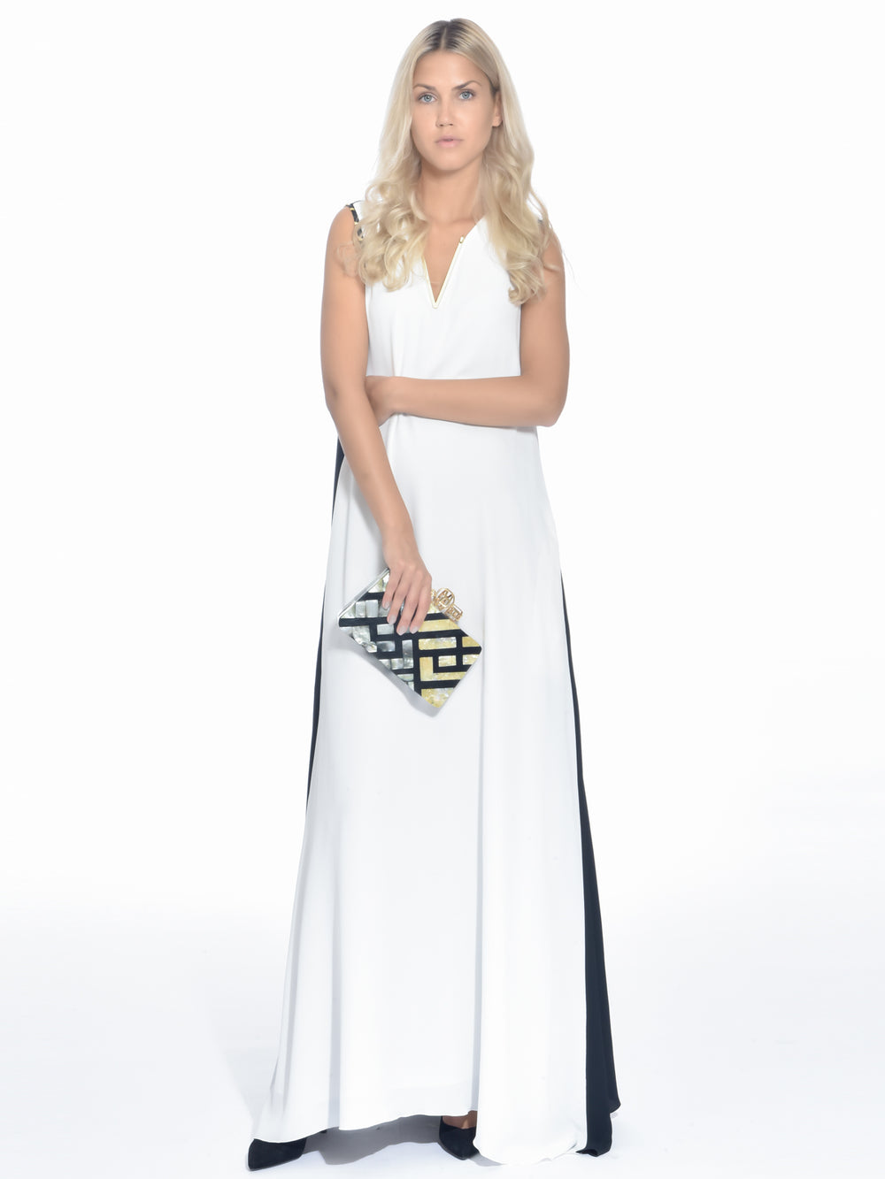 Block White and Black Maxi Dress, CAVALLI CLASS - elilhaam.com