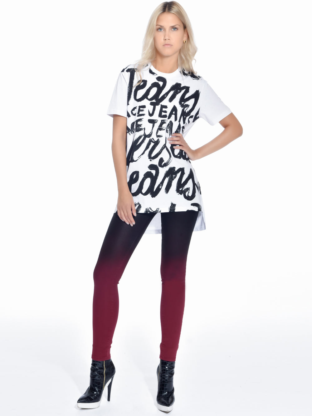 White Graphic Print T-Shirt, VERSACE JEANS - elilhaam.com