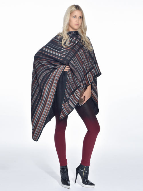 Crochet-knit Wool Poncho Black/Brown, MISSONI - elilhaam.com