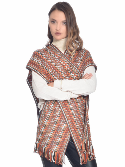 Draped Poncho Orange/Brown, MISSONI - elilhaam.com