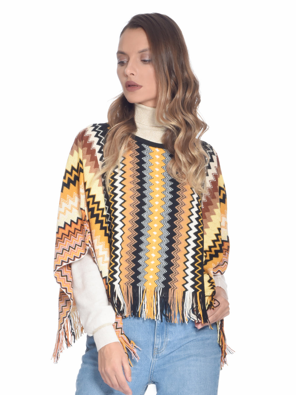 Knitted Poncho Orange/Black, MISSONI - elilhaam.com