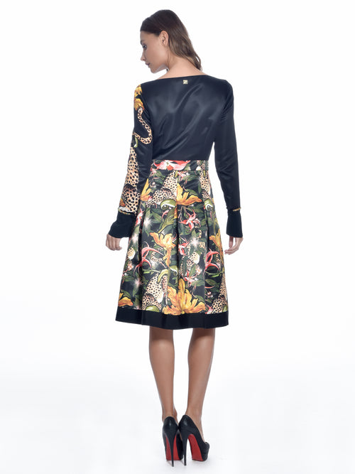 Black Duchesse Print Dress, CAVALLI CLASS - elilhaam.com
