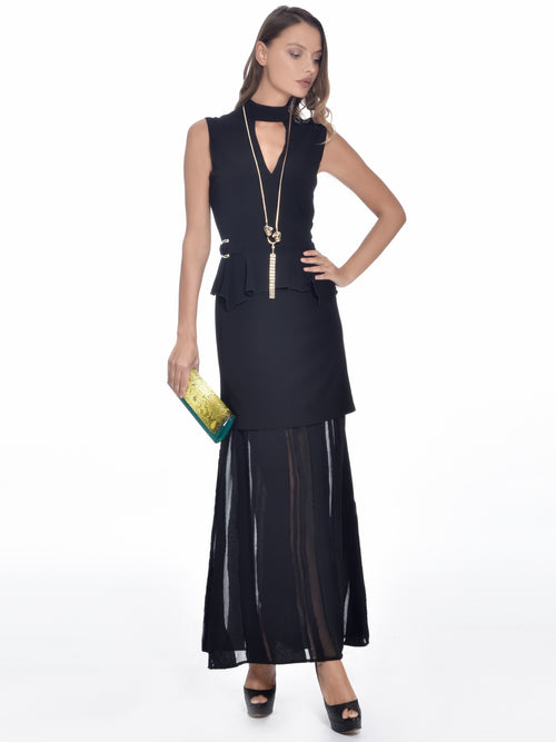 Black Semi-Sheer Dress, VERSACE JEANS - elilhaam.com