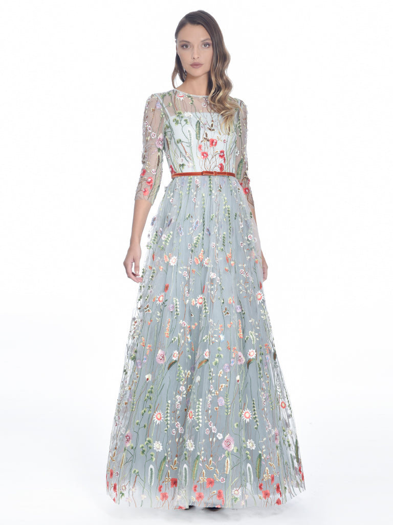 Embroidered Floral Gown, DORIAN HO - elilhaam.com