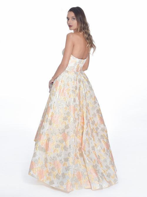 High-Low Bustier Brocade Gown