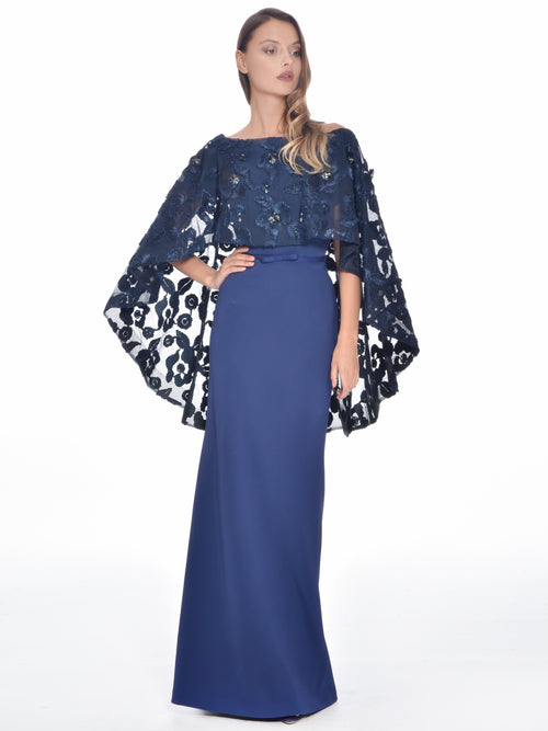 Floral Embroidered Cape Gown, DORIAN HO - elilhaam.com