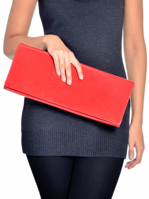 Red Patent Leather Clutch, GUY LAROCHE - elilhaam.com