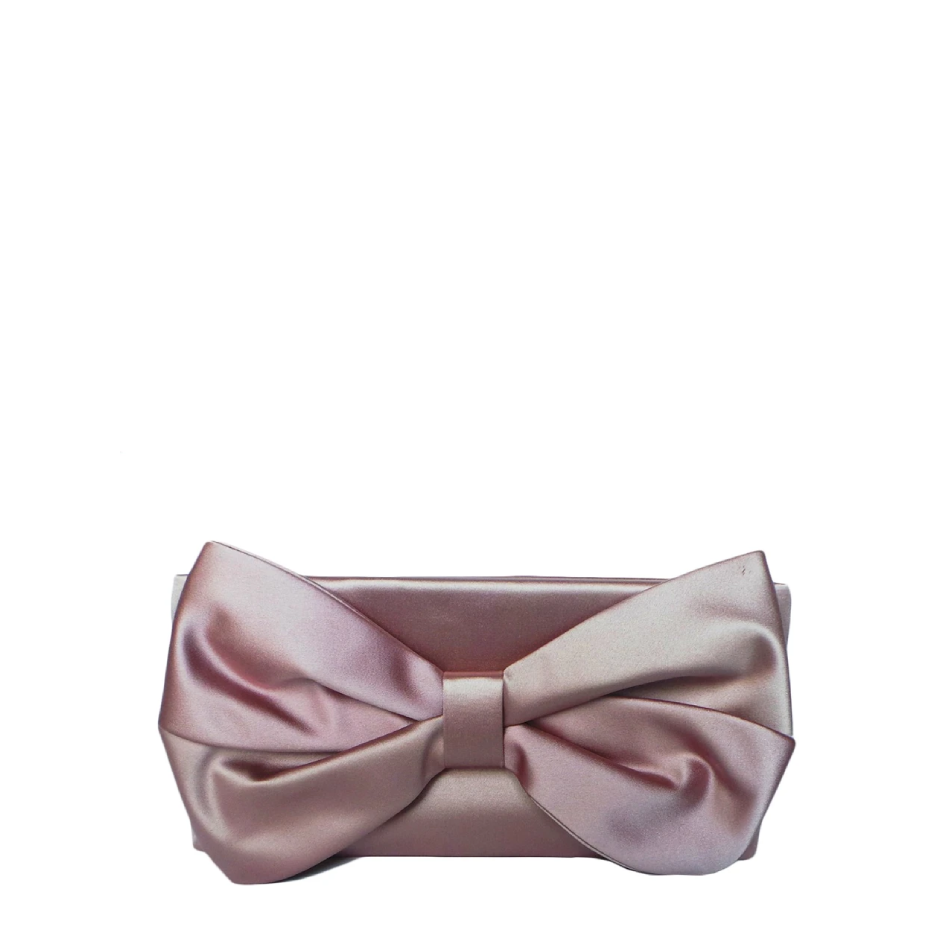 Blush Satin Bow Clutch, VALENTINO - elilhaam.com