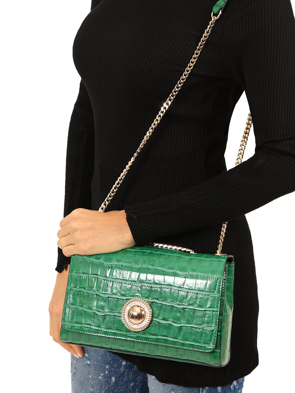 Green Mock Croc Cross-body Bag