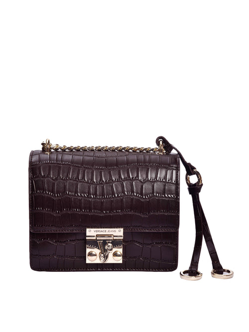 Brown Mock Croc Cross Body Bag