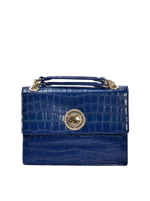 Blue Mock Croc Shoulder Bag