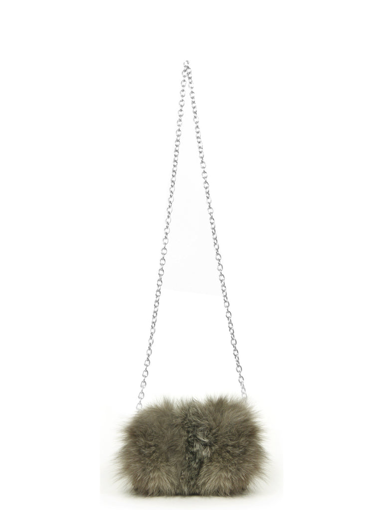 Tina  Clutch Silver Fox Fur, Z SPOKE BY ZAC POSEN - elilhaam.com