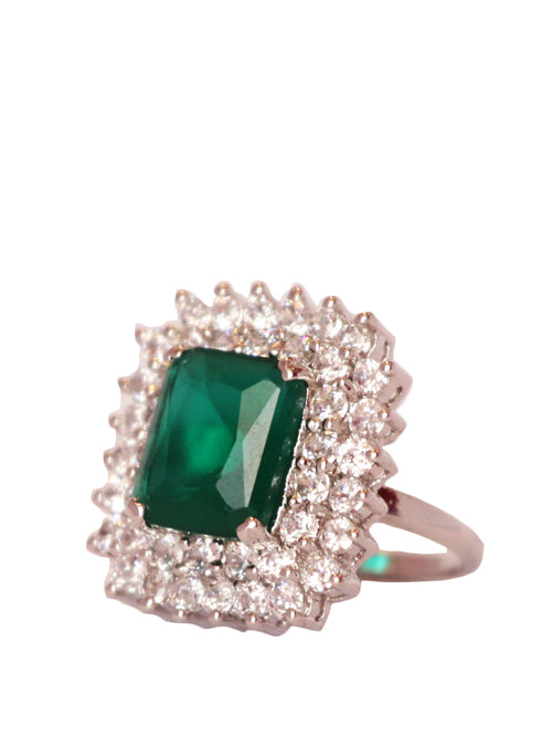 Green Center Stone Cut Ring, Accessories,Designers, TANZILA RAB - elilhaam.com