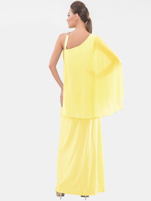 Canary Yellow One sleeve Gown, VITTORIA ROMANO - elilhaam.com