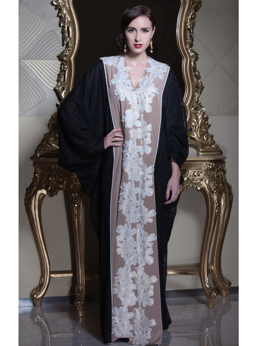Off White Floral Abaya, MOONOIR - elilhaam.com