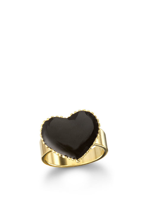 Black Enamel Heart Ring, TULESTE - elilhaam.com