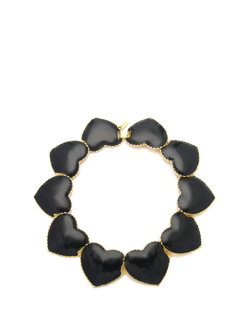 Black Interlocking Heart Necklace, TULESTE - elilhaam.com