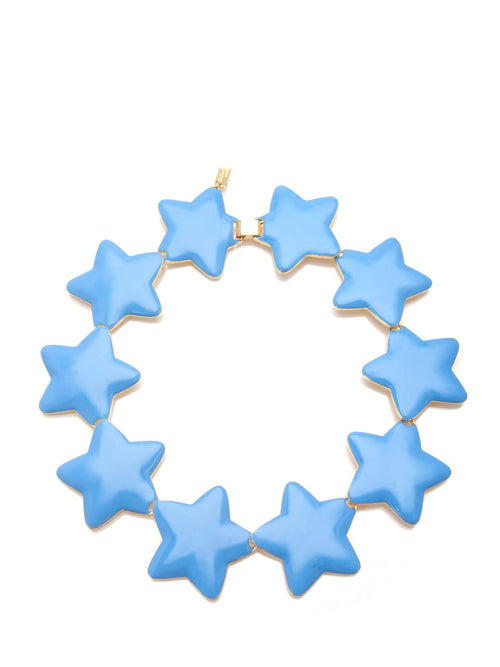 Blue Enamel Interlocking Star Necklace, TULESTE - elilhaam.com