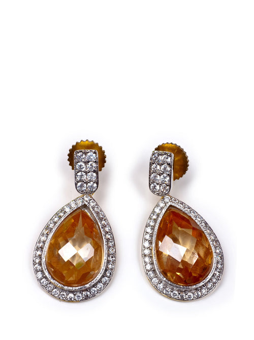Accessories,Designers - Citrine Earrings With Champagne Quartz