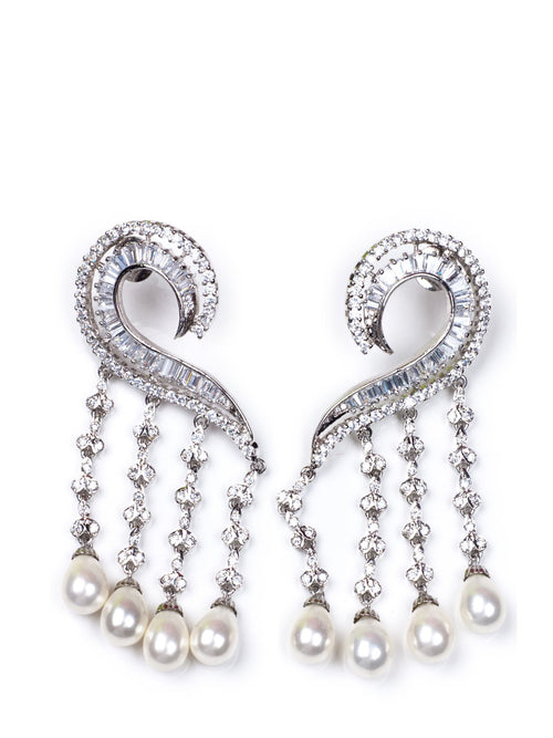 Accessories,Designers - Diamond Pearl Waterfall Earrings