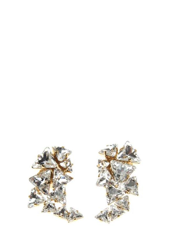 Accessories,Designers - Earclips L With Druse Crystals