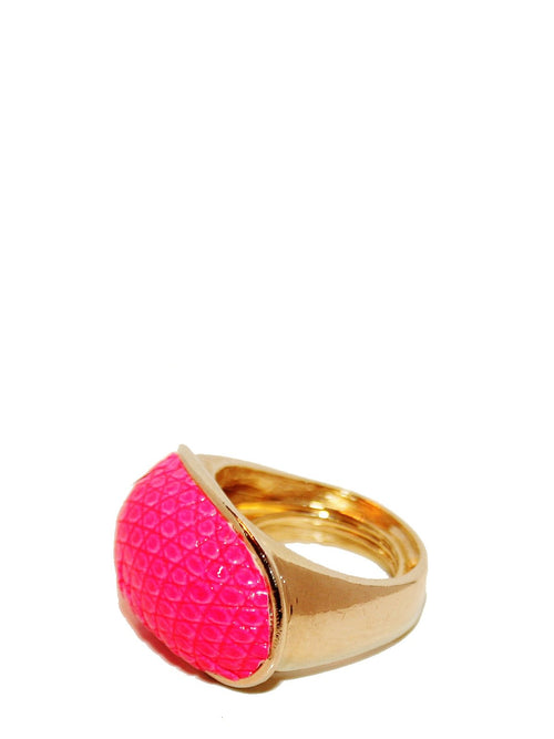Accessories,Designers - Exotic Dome Ring In Electric Pink Lizard