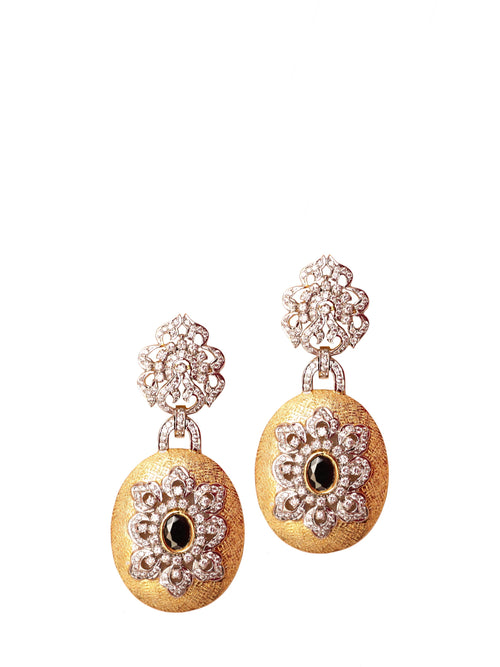 Accessories,Designers - Gold Circular Cutout Studded Earring