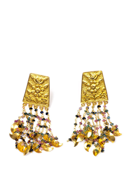 Accessories,Designers - Gold Floral Earrings