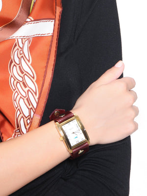 Accessories,Designers - Gold Square Oversize Watch