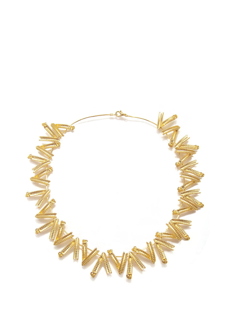 Accessories,Designers - Gold Wheat Flower Necklace