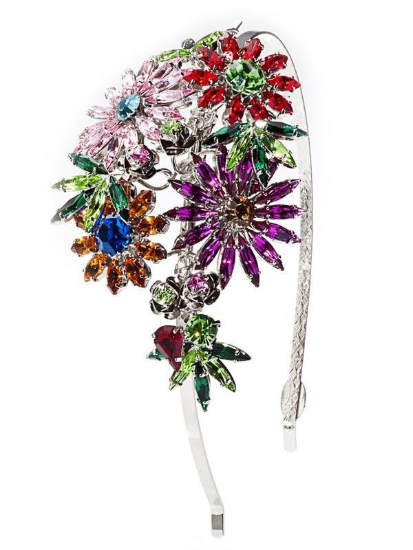 Accessories,Designers - Jardin Multi-coloured Botanical Motif Crystal Hairband