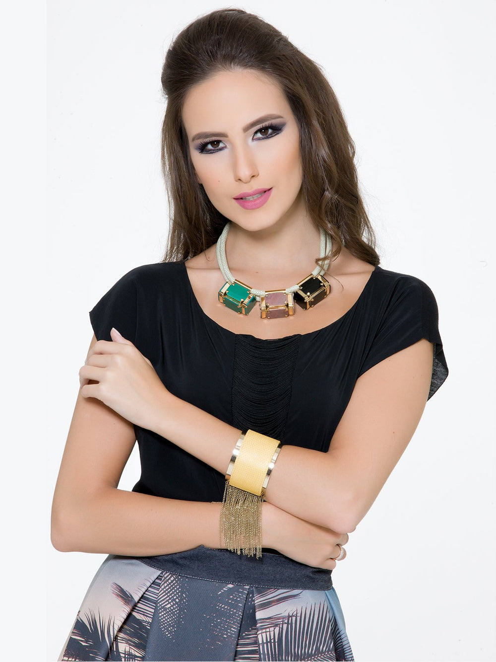 Accessories,Designers - Necklace Of 3 Rock Cubes