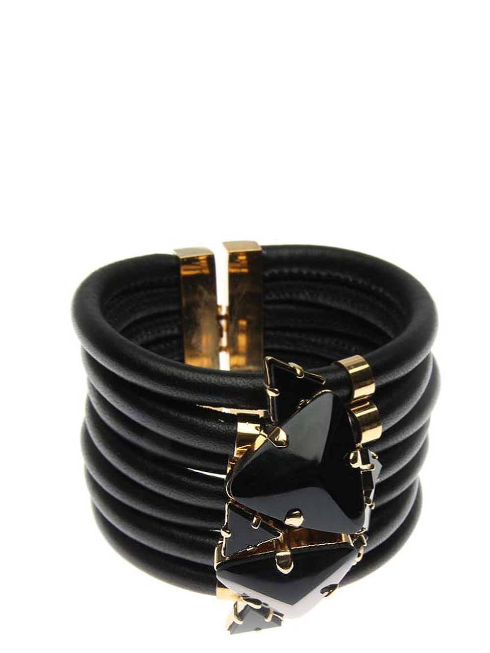 Accessories,Designers - Onyx Metall Leather Bracelet