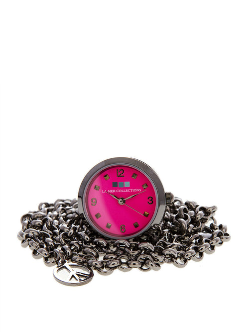 Accessories,Designers - Ring Watch - Gunmetal Hot Pink Dial