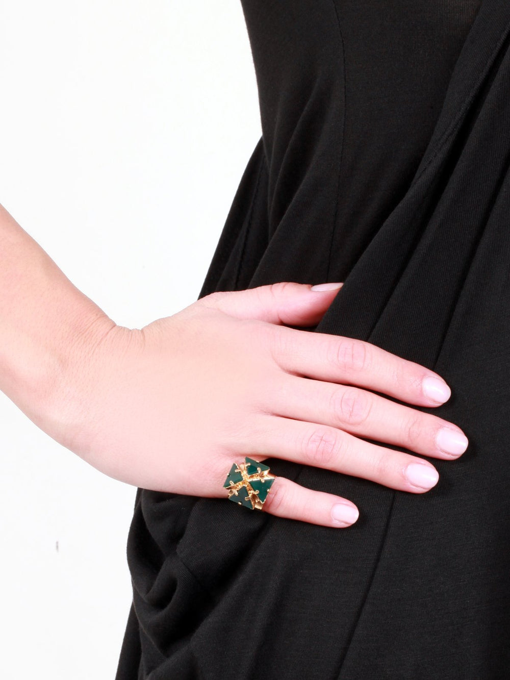 Accessories,Designers - Ring With  Agate Gold