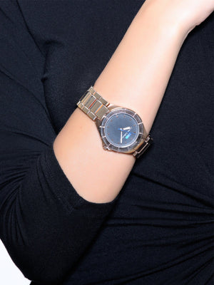 Accessories,Designers - Rose Gold Circle With Black Dial Watch