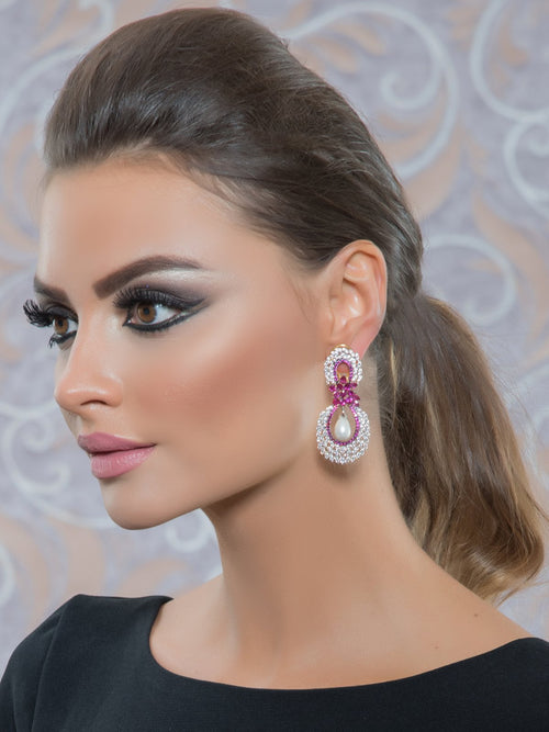 Accessories,Designers - Ruby Cluster Earrings