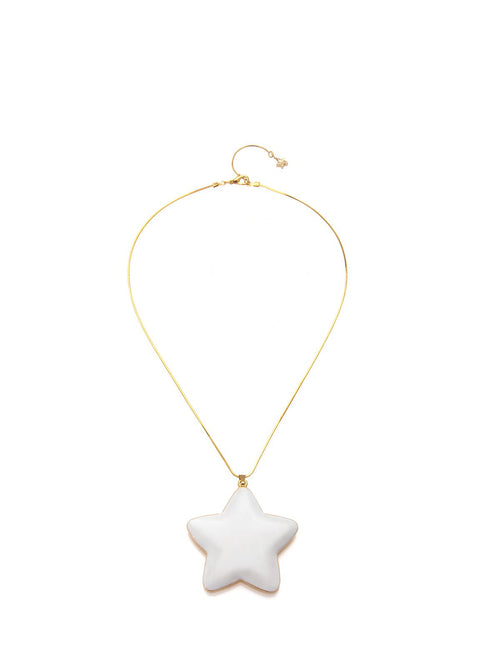 Accessories,Designers - White Enamel Star Pendant