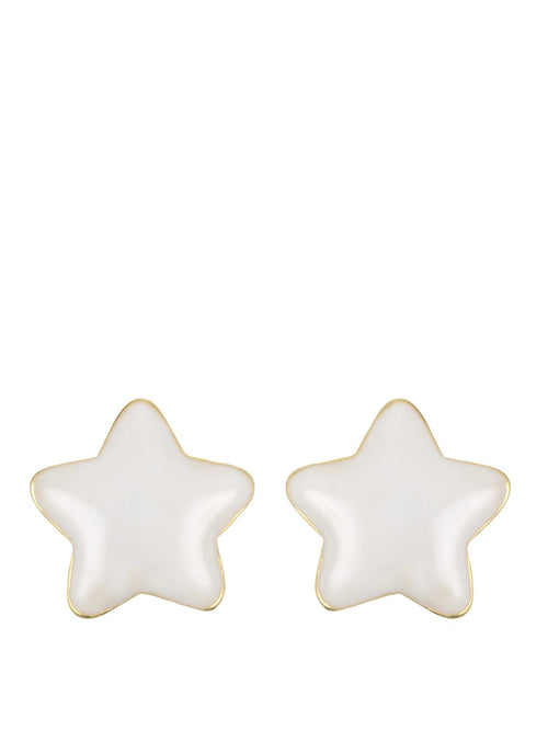 Accessories,Designers - White Enamel Star Stud