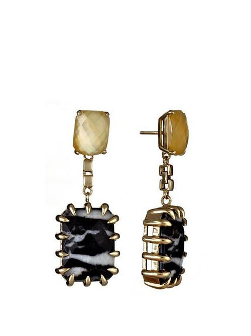Accessories,Designers - Zebra Jasper Claw Geo Earring