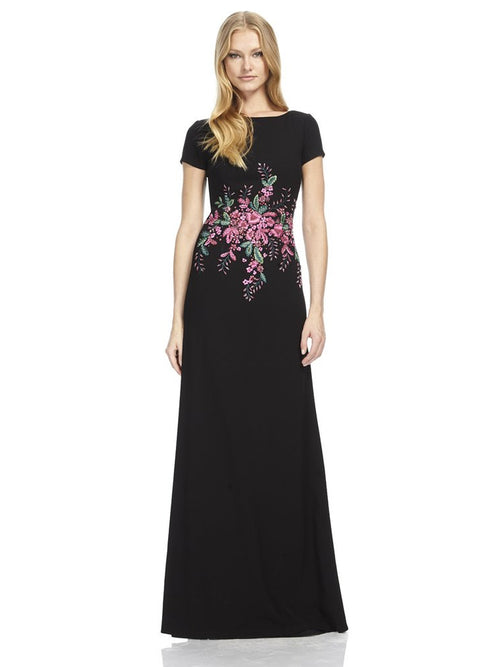 Crepe Gown with Beaded Detail, DAVID MEISTER - elilhaam.com