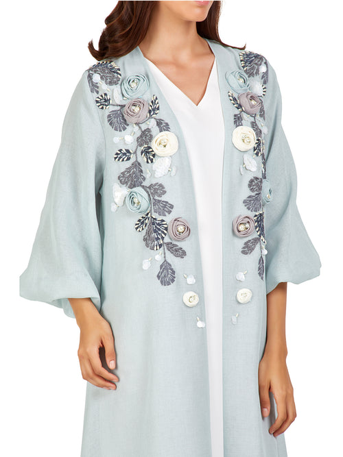 Tiffany Blue Floral Embellished Kaftan