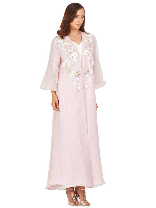 Blush Floral Embellished Kaftan, MOONOIR - elilhaam.com